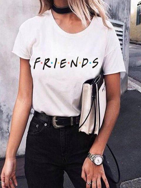 Vintage Short Sleeve Friends Printed Plus Size Casual Tops