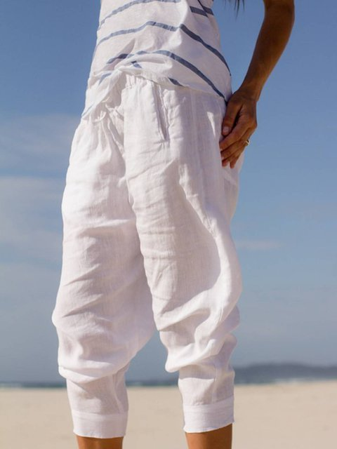 White Casual Plain Pants