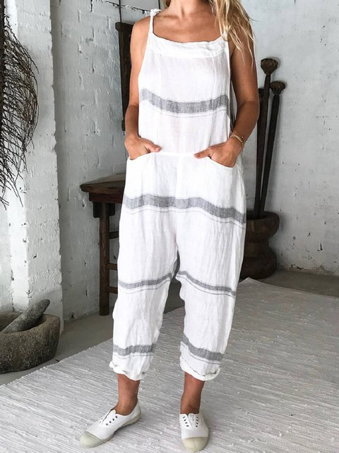 White Casual Shift Pockets Cotton-Blend Overalls