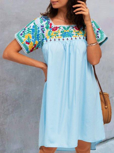 Blue Embroidered Boho Cotton-Blend Dresses