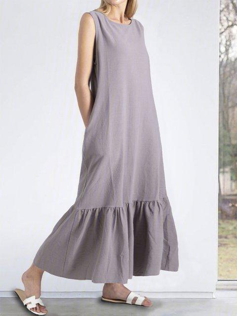 Drop Ruffle Maxi Linen Sleeveless Dress Washed and soft linen Dress