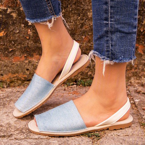 Summer Peep Toe Denim Sandals Slip On Beach Sandals