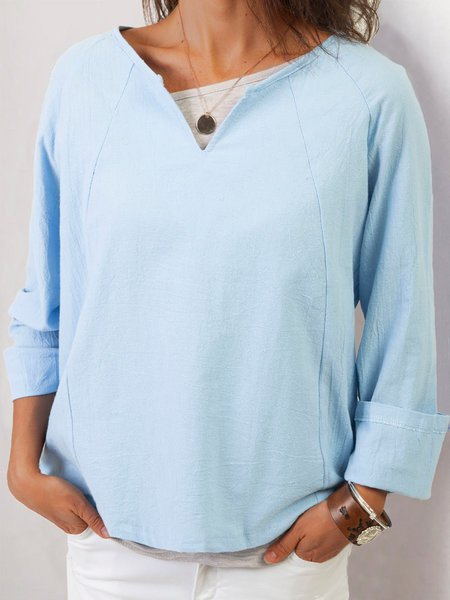 Blue Long Sleeve Solid Shirts & Tops