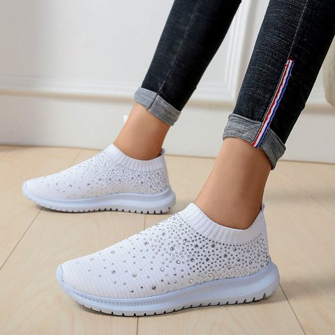 Pi Clue Rhinestone Artificial Leather Sneakers