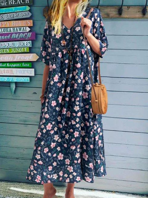 Plus Size Casual V Neck Short Sleeve Dresses