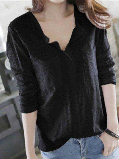 Casual Plain Cotton-Blend Shirts & Tops