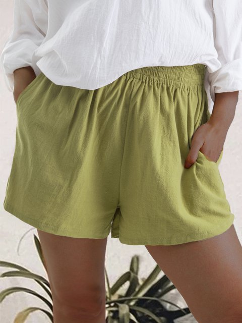 Pockets Plain Summer Casual Pants Shorts