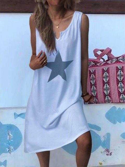 White Sleeveless Casual Star Print Daily Vest Dress