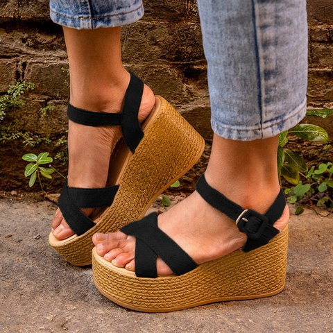 Casual Adjustable Buckle Wedge Heel Sandals