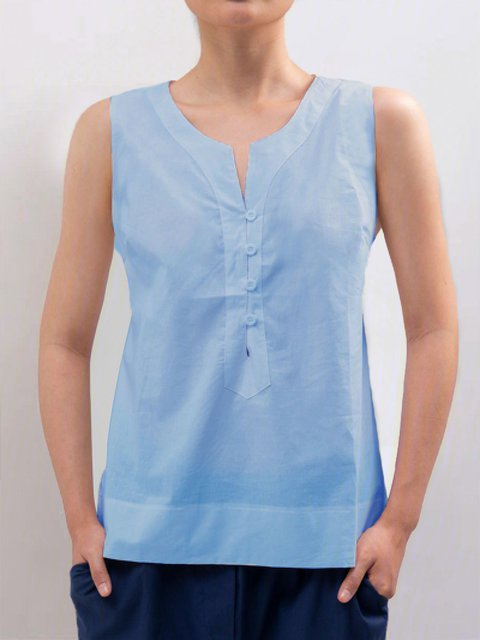 Casual Sleeveless Solid Plus Size Tops