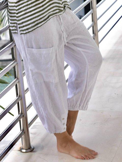White Vintage Linen Pants