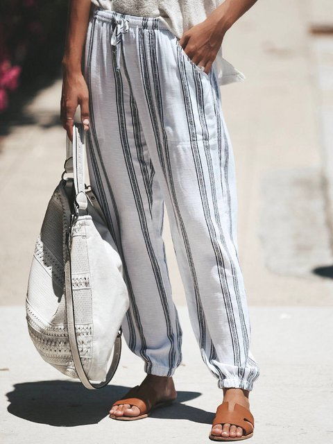 Women Black Striped Holiday Linen Pants