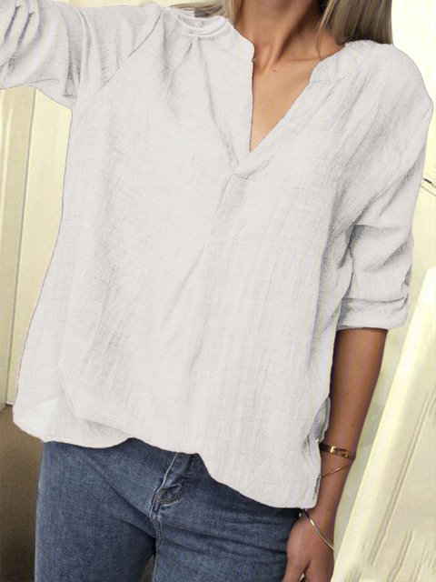 V Neck Long Sleeve Linen Solid Blouses