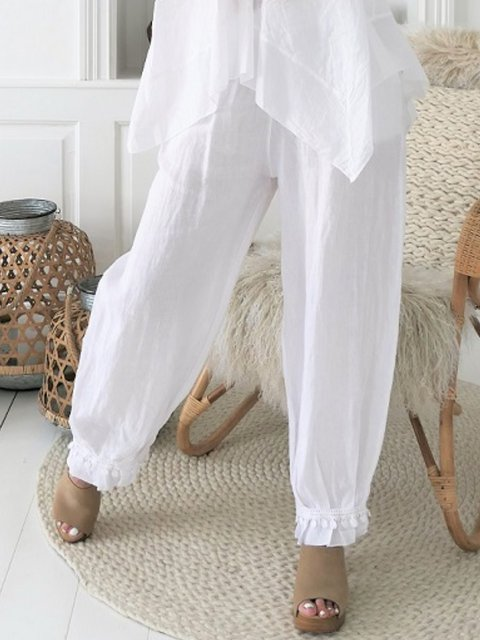 White Plain Casual Pants