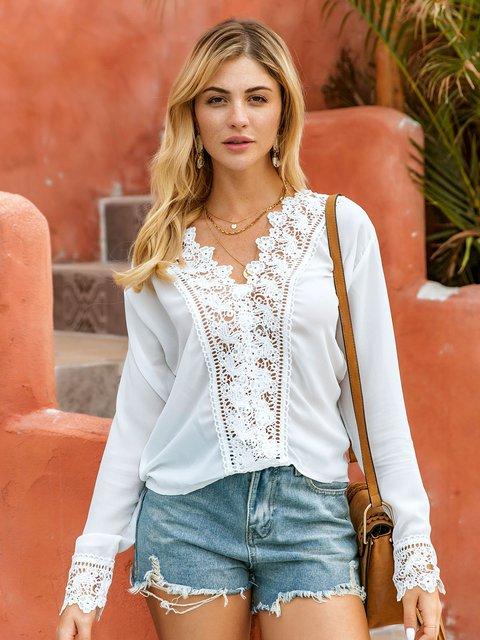 White Floral Long Sleeve Chiffon Shirts & Tops