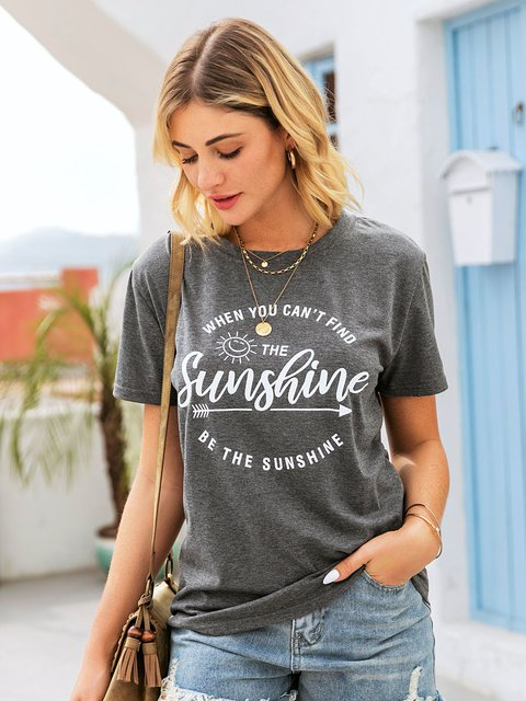 Gray Casual Shift Letter Shirts & Tops