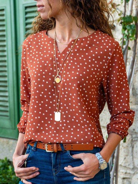 Holiday Polka Dots V Neck Shirts & Tops