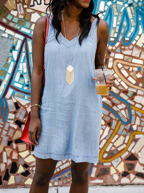 Blue V Neck Denim Solid Holiday Dresses