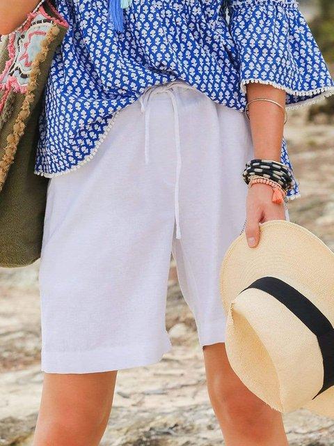 Solid Shorts Summer Pockets Pants