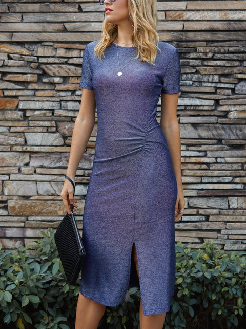Deep Blue Solid Sexy Sheath Crew Neck Dresses