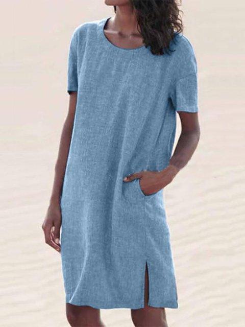 Linen Casual Short Sleeve Dresses
