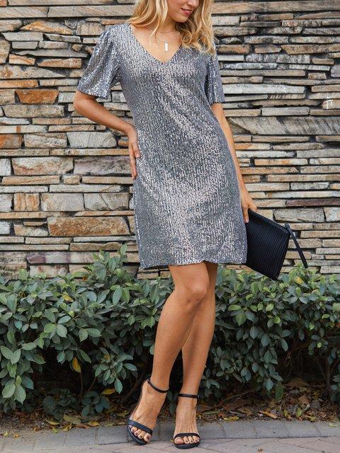 Black Elegant V Neck Shift Dresses
