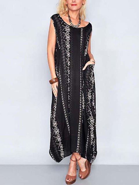 Sleeveless Pockets Maxi Dress Printed Dresses