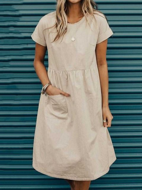 Solid Pocket Midi Dress Short Sleeve Dresses