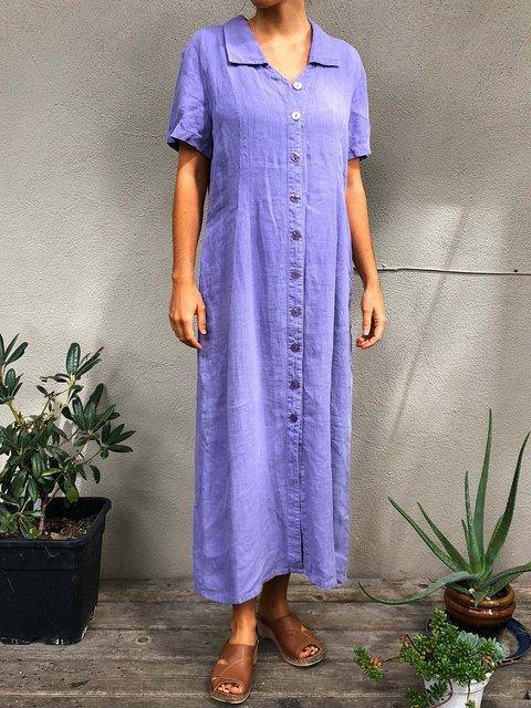 Solid Maxi Dress Short Sleeve Dresses