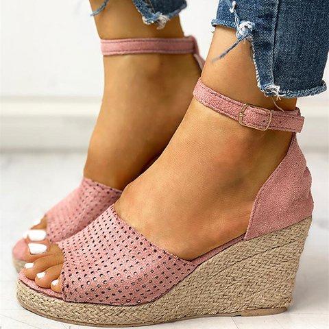 Women Summer Casual Peep Toe Wedge Sandals