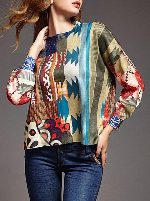 Multicolor Knitted Shift Casua Sweater