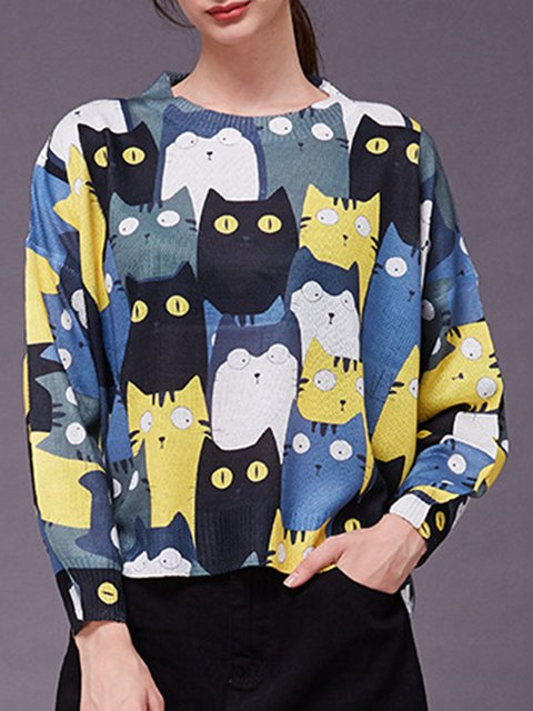 Printed Knitted Casual Sweater