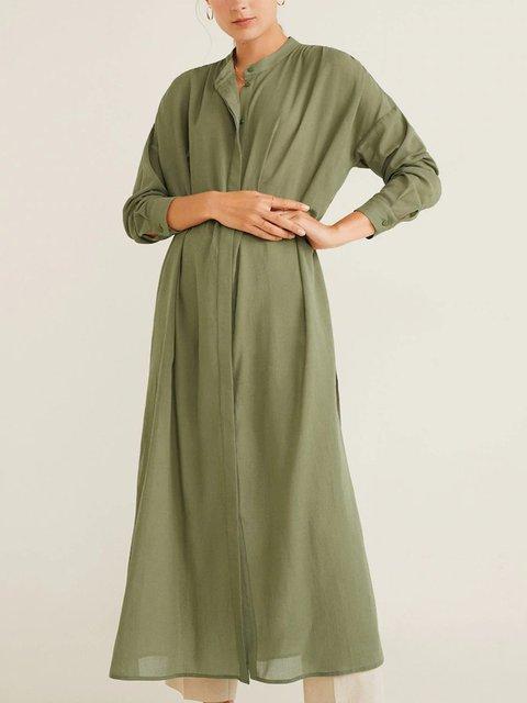 Stand Collar Long Sleeve Plain Cotton Shirts & Tops