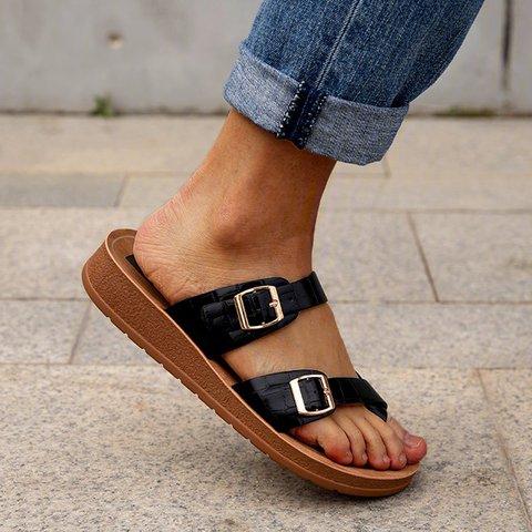 Pi Clue Snakeskin Flat Heel Leather Slippers
