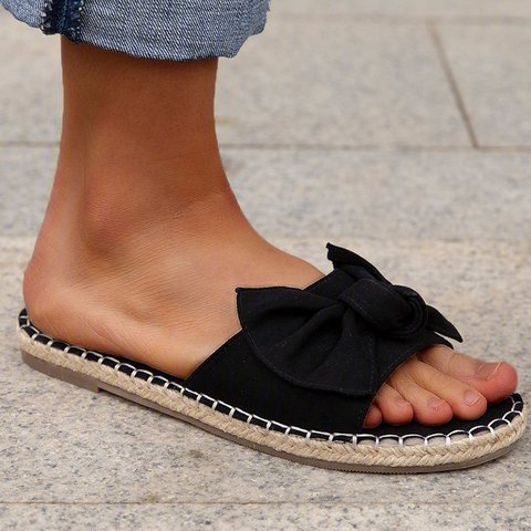 Pi Clue Flat Heel Canvas Bowknot Slippers
