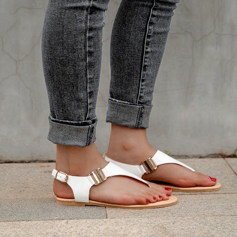 Summer T-Strap Button Flat Sandals