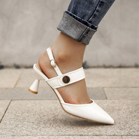 Fall Elegant Block Pointed Toe Apricot Button Heel Other Shoes
