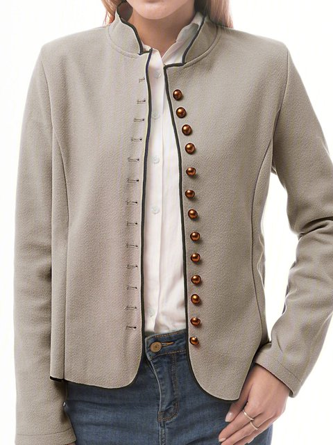 Solid Buttoned Vintage Jacket Plus Size Stand Collar Coat