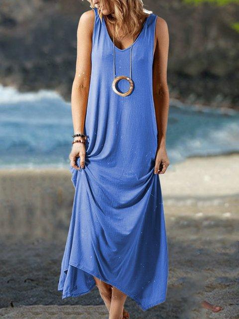 Sleeveless Solid Maxi Dress