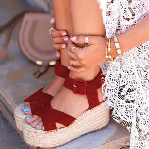 Spring Espadrille Wedge Suede Buckle Sandals