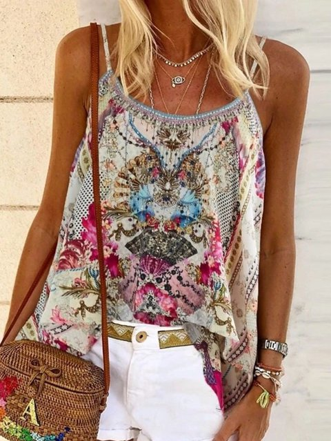 Sleeveless Chiffon Floral Shirts & Tops
