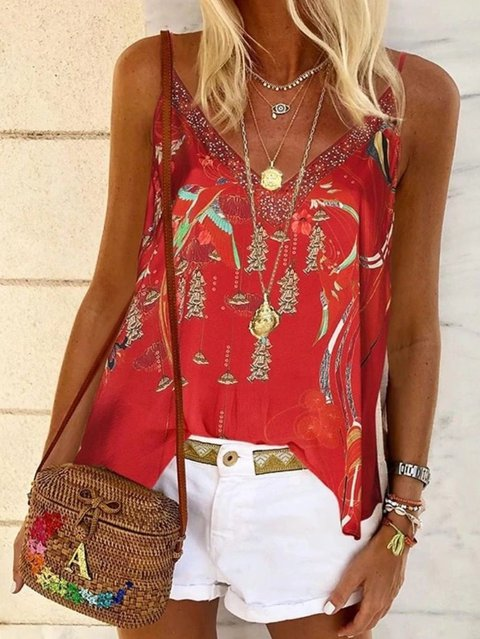V Neck Floral Chiffon Casual Shirts & Tops