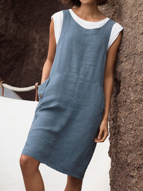 Sleeveless Casual Linen V Neck Dresses