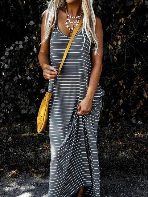 Spaghetti Striped Maxi Dress