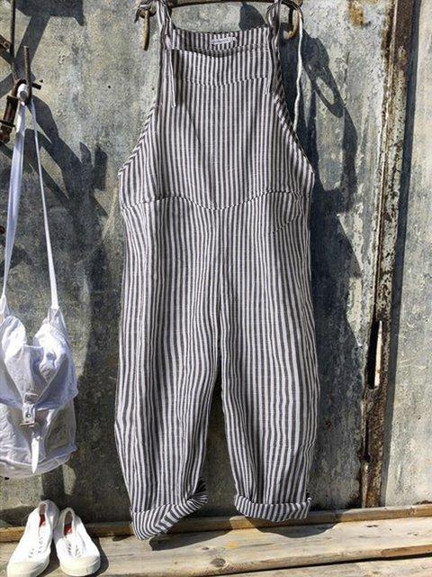 Vintage Black Gray Linen Stripes Casual Jumpsuits