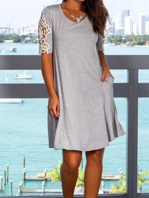 Gray Women Dresses Shift Daily Casual Dresses