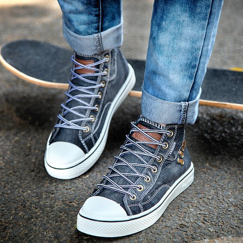 Unisex High Top Canvas Sneakers Denim Shoes
