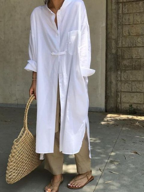 White Casual Solid Dresses