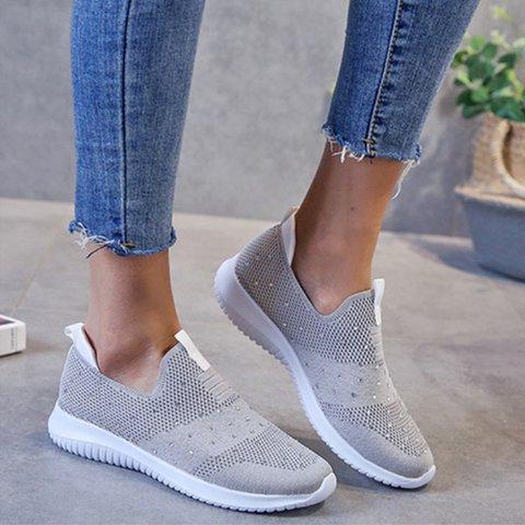 All Season Daily Fabric Flat Heel Sneakers