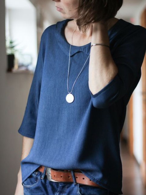 Blue Round Neck Long Sleeve Solid Tops